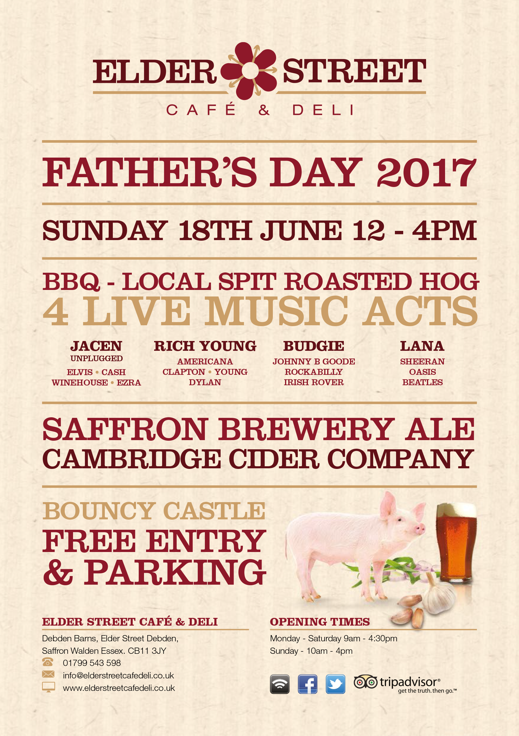 Fathers Day BBQ at Debden Barns. Join us on the 18th June from 12 till 4. Enjoy a hog roast, local ale cider and live music acts. Free entry, free parking.