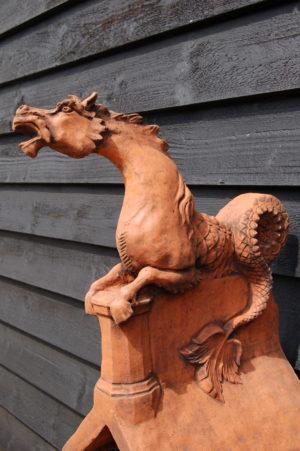 Horse Serpent Roof Ridge Tile £149. Made to order by experienced craftsman. Buy online or visit Debden Barns Antiques Saffron Walden, Essex/