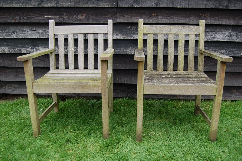 Pair of Weathered Wooden Chairs with armrests, nicely weathered. £115. Buy online or visit Debden Barns Antiques Saffron Walden, Essex.