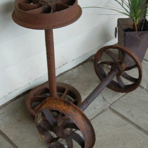 19th Century Cast Iron Coalmine Wheels used on original coal mine truck. £125.00 Salvaged from New Zealand. Buy online or visit Debden Barns Antiques Essex