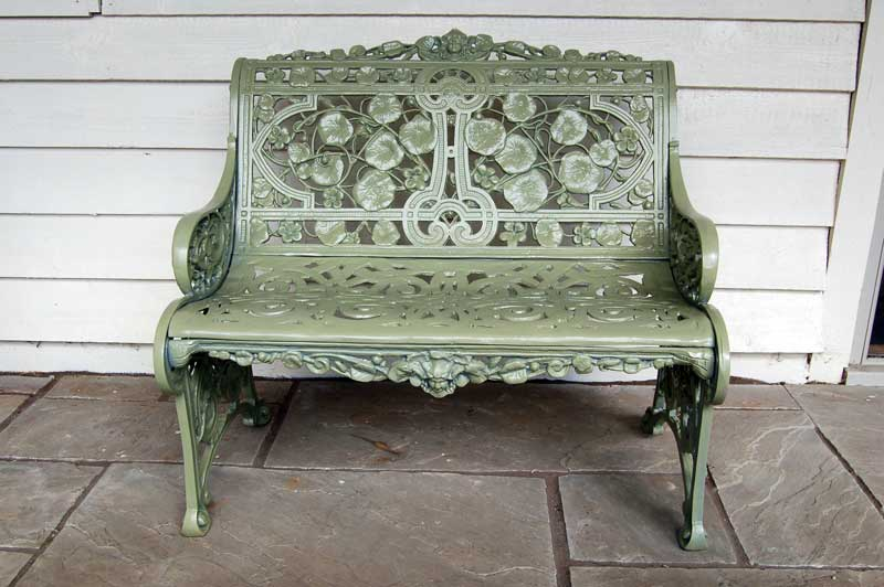 Two Seater Nasturtium Bench made in UK and sand cast in aluminium. £395. Buy online or visit Debden Barns Antiques Saffron Walden, Essex.