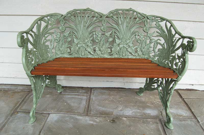 Wheatsheaf & Poppy Bench after a 19th Century original by Coalbrookdale. £395. Buy online or visit Debden Barns Antiques Saffron Walden, Essex.
