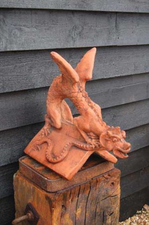 Small Winged Dragon Roof Ridge Tile made and hand finished in the UK. £95. Buy online or visit Debden Barns Antiques Saffron Walden, Essex.