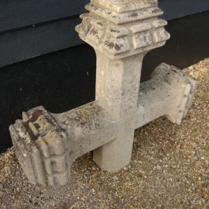 19th Century Large Stone Cross with castellated finials. £295.00 Beautifully weathered with lichen. Buy online or at Debden Barns Antiques, Saffron Walden.