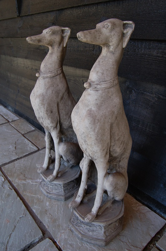 Pair of Seated Whippets on an octagonal decorated base. £195. Buy online or visit Debden Barns Antiques Saffron Walden, Essex.