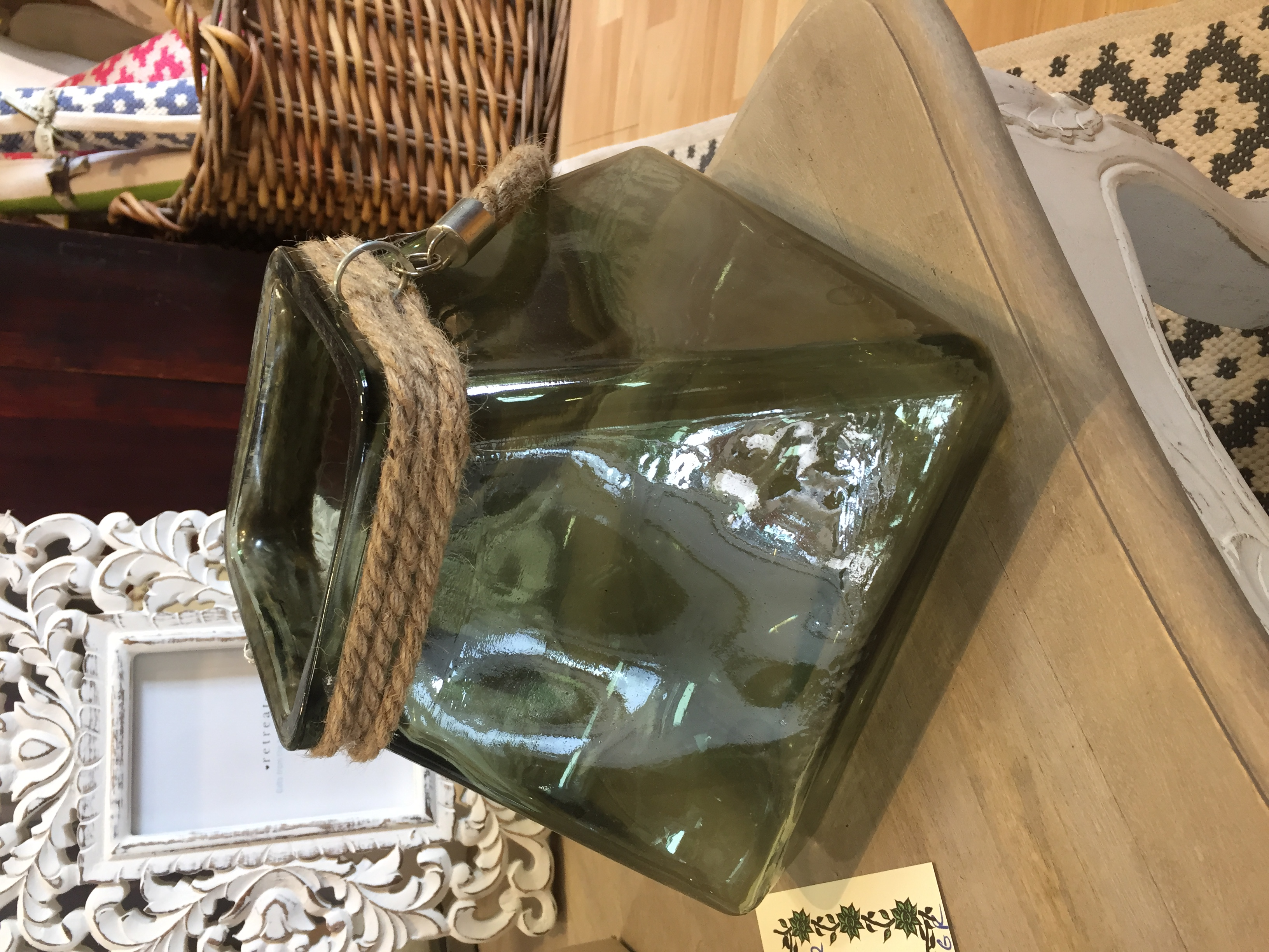 Green Glass Candle Holder beautiful square candle holder with rope handle. £14.95. Buy online or visit Debden Barns, Saffron Walden, Essex.